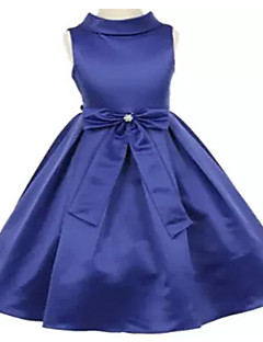 Ball Gown Tea-length Flower Girl Dress - Jersey Sleeveless High Neck with Bow(s) / Crystal Detailing
