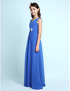 Lanting Bride® עד הריצפה שיפון שמלה לשושבינות הצעירות  מעטפת \ עמוד צווארון וי עם פרטים מקריסטל / בד בהצלבה
