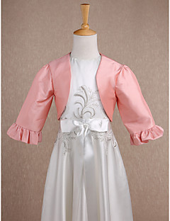 Kids' Wraps Shrugs Long Sleeve Taffeta Pearl Pink Wedding / Party/Evening Wide collar Ruffles Open Front