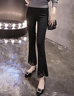 Women's Solid Black Bootcut Pants,Street chic