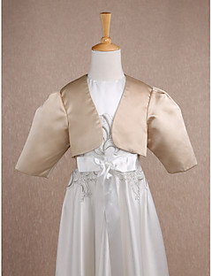 Kids' Wraps Shrugs 3/4-Length Sleeve Satin Champagne Wedding / Party/Evening Wide collar Ruched Open Front