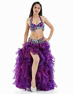 Belly Dance Outfits Women's Performance Polyester Split Front 3 Pieces Blue / Dark Purple / White Belly Dance