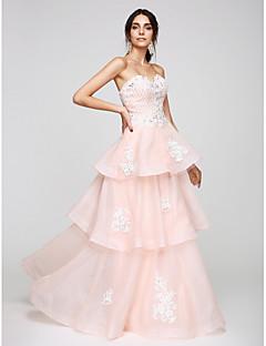 TS Couture Promoce Formální večer Šaty - Elegantní A-Linie Srdce Na zem Organza s Aplikace Korálky
