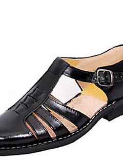 pantofi din piele sandale pentru bărbați de mers pe jos casual, cu toc plat alții negru