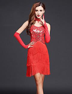Budeme latinské taneční šaty dámské výkony chinlon / mléčné vlákno paisley rhinestones / střapce taneční kostýmy