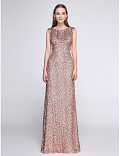 2017 Lanting Bride® Floor-length Sequined Sparkle & Shine Bridesmaid Dress - Scoop with Sequins