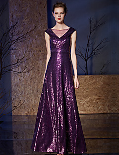 Formal Evening Dress A-line V-neck Floor-length Charmeuse / Sequined with Sequins