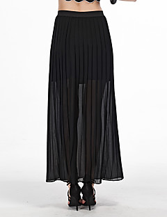 Polyester-Inelastisch-Eenvoudig-Maxi-Vrouwen-Rokken
