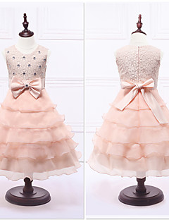 Ball Gown Tea-length Flower Girl Dress - Organza / Satin Sleeveless Jewel with Bow(s) / Lace / Tiers