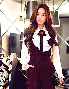 Polyester Hvit Medium Langermet,Skjortekrage Skjorte Ensfarget Vår Høst Vintage Søt Sofistikert Ut på byen Fritid/hverdag Arbeid Dame