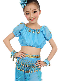 Belly Dance Outfits Children's Performance Chiffon Coins 6 Pieces Fuchsia / Light Blue / Purple / Royal Blue / Yellow