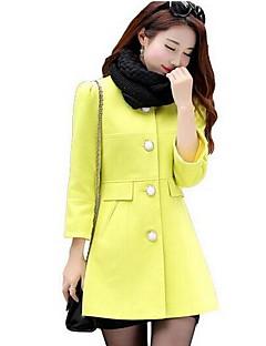 Dámské Jednobarevné Běžné/Denní Jednoduché Kabát-Polyester Zima Kulatý Tříčtvrteční rukáv Růžová / Béžová / Žlutá Střední