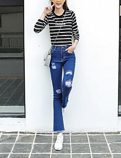 Kvinner Enkel Jeans / Bootcut Bukser Polyester Mikroelastisk