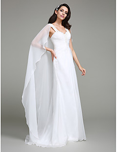 LAN TING BRIDE Sheath / Column Wedding Dress Simply Sublime Watteau Train Straps Chiffon with Beading