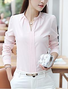 Blusa Da donna Casual / Ufficio Semplice Autunno,Tinta unita A V Poliestere Blu / Rosa / Rosso / Bianco Manica lunga Medio spessore