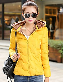 Women's Solid Blue / Pink / Red / White / Black / Yellow Padded Coat,Street chic Hooded Long Sleeve