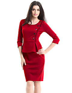 Women's Plus Size / Casual/Daily / Work Vintage Bodycon Dress,Solid Round Neck Knee-length ¾ Sleeve
