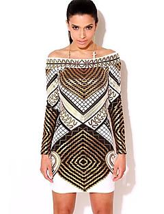 Pochwa Sukienka Obuwie damskie Codzienne Moda miejska Nadruk,Bateau Mini Długi rękaw Biały Poliester Wiosna