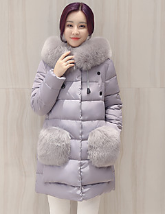 Women's Solid Blue / Pink / Black / Gray Padded Coat,Street chic Hooded Long Sleeve