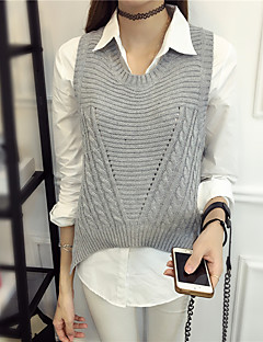 Women's Going out /Cute Regular Vest,Solid Pink / White / Black / Gray Round Neck Sleeveless Acrylic Spring / Fall