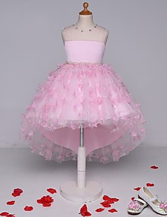 Ball Gown Asymmetrical Flower Girl Dress - Lace Sleeveless Strapless with Beading