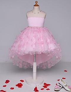 볼 드레스 비대칭 플라워 걸 드레스 - 레이스 민소매 끈없는 스타일 와 비즈