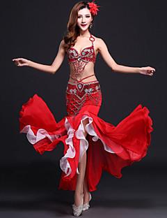 ריקוד בטן תלבושות בגדי ריקוד נשים ביצועים סאטן שיפון זהורית נצנצים חזית מפוצלת 3 חלקים בלי שרוולים טבעי חצאית סט חזייה ותחתונים חגורהS:90