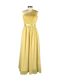 Floor-length Chiffon Bridesmaid Dress A-line One Shoulder with Lace