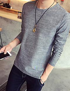 Men's Striped Casual / Sport / Plus Sizes T-Shirt,Cotton Short Sleeve-Blue / Brown / Gray
