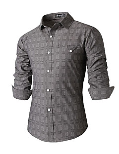 Men's Striped Casual / Work Shirt,Cotton Long Sleeve Gray