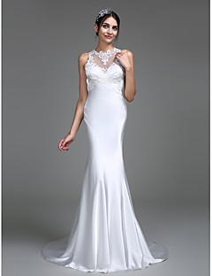 LAN TING BRIDE Trumpet / Mermaid Wedding Dress See-Through Court Train Jewel Charmeuse with Appliques Button