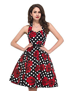 여성의 A 라인 드레스 데이트 빈티지 프린트,홀터 넥 무릎길이 민소매 화이트 / 블랙 폴리에스테르 여름
