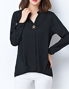 Women's Casual/Daily Simple Spring / Fall Blouse,Solid Round Neck Long Sleeve Pink / White / Black / Orange Other