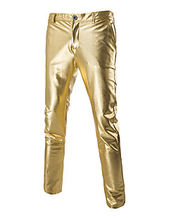 Men's Slim Shiny Gold Foil Costumes Casual Trousers,Cotton / Spandex Black / Gold / Silver