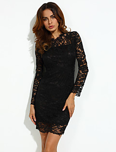 Women's Party/Cocktail Bodycon Dress,Solid Round Neck Above Knee Long Sleeve Red / Black / Green Cotton Fall