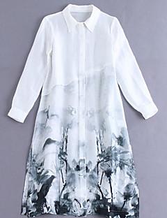 Damen Hemd Kleid-Ausgehen Chinoiserie Blumen Hemdkragen Knielang Langarm Blau / Weiß Leinen Frühling Mittlere Hüfthöhe Mikro-elastisch