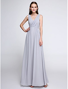 2017 לנטינג bride® שמלת השושבינה באורך קרסול שיפון צבע בלוק - נדן / טור צווארון V עם שתי וערב