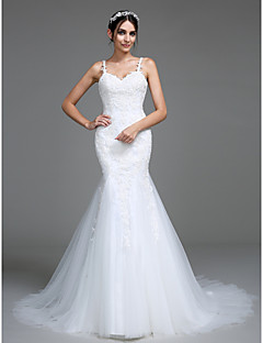 LAN TING BRIDE Trumpet / Mermaid Wedding Dress Beautiful Back Court Train Straps Tulle with Appliques