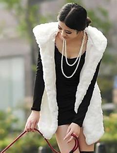 Mulheres Casaco de Pelo Casual / Festa/Coquetel / Tamanhos Grandes Sensual / Simples / Chinoiserie Outono / Inverno,Sólido Branco Acrílico