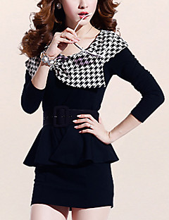 Women's Casual/Daily Street chic Bodycon Dress,Houndstooth Round Neck Mini Long Sleeve Black Fall