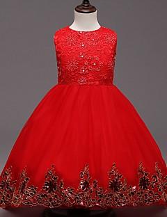 Mädchen Kleid-Ausgehen einfarbig Baumwolle / Polyester Ganzjährig Rot