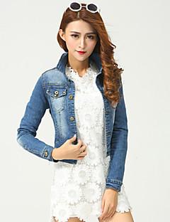Bomull / Polyester / Spandex Blå Medium Langermet,Skjortekrage Denimjakker Ensfarget Høst Gatemote Fritid/hverdag Kvinner