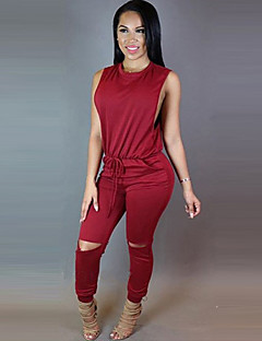 Women's Solid Red / Black Jumpsuits,Vintage Round Neck Sleeveless
