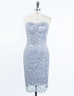 Cocktail Party Dress - Sexy Sheath / Column Sweetheart Knee-length Lace Satin with Appliques Beading Lace