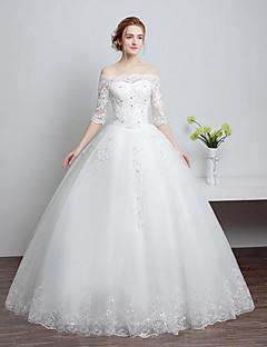 볼 드레스 웨딩 드레스 바닥 길이 보트넥 레이스 / 튤 와 비즈 / 레이스