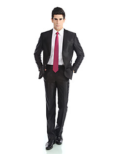 2017 Tuxedos Tailored Fit Notch Single Breasted  Polyester/Rayon(T/R) / Wool & Polyester Blended Solid 2 Pieces Black