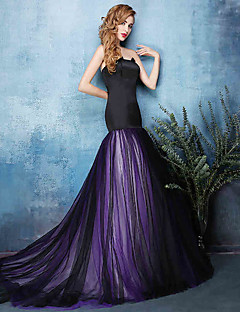 Formal Evening Dress Fit & Flare Notched Court Train Tulle with Ruching