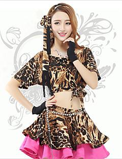 Belly Dance Tops Women's Performance Spandex Leopard 1 Piece Leopard Print Belly Dance Short Sleeve Natural Top