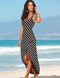קיץ כותנה שחור ללא שרוולים א-סימטרי כתפיה פסים סקסי חוף שמלה נדן נשים