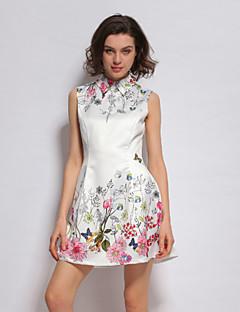 ステファニー白い膝の袖の上/かわいいシースdressfloralシャツの襟のミニを外出女性の